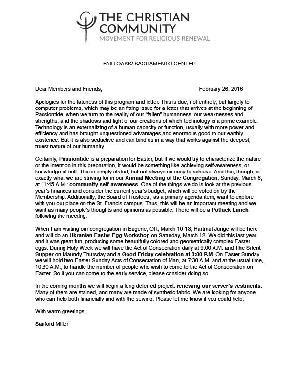 Program Letter Spring 2016